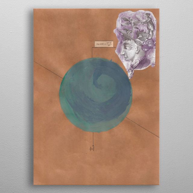 A mathematical collage combine with astrology. Planet of the fishes. metal poster