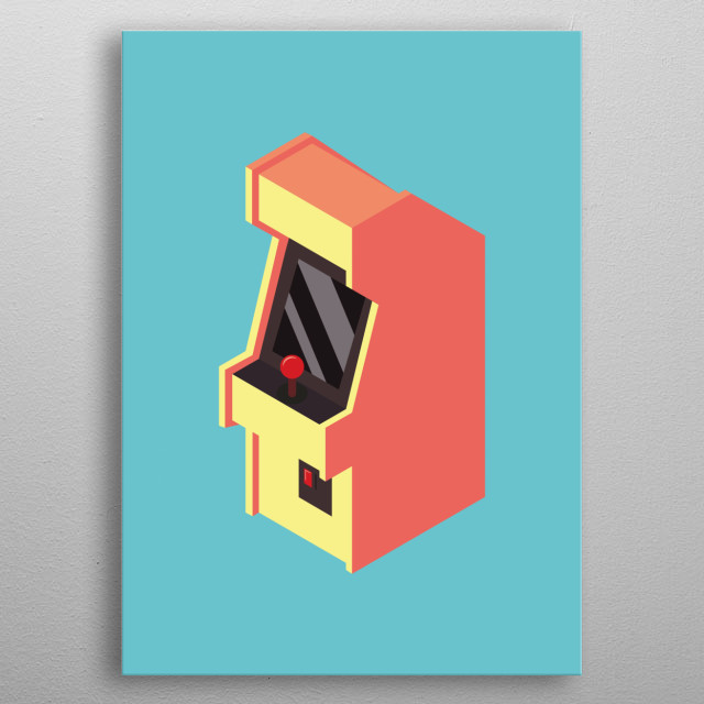 This illustration is of a simple Isometric arcade machine, the colour palette is very vibrant which makes it stand out from any wall. metal poster