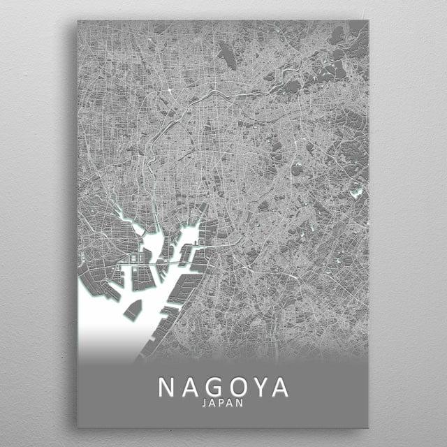 Nagoya Japan City Map metal poster