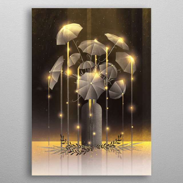 Enjoy this enchanted and witchy rain flower plant. It is magic, looks like a weeping willow and glows beautifully golden. Simply whimsical! metal poster