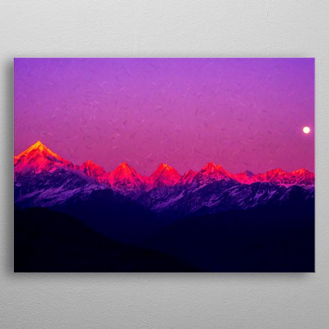 Digital Painting: Panchuchuli Peaks Panchchuli peaks are a group of five snow-capped Himalayan peaks near Munsiyari in Uttarakhand, India. metal poster