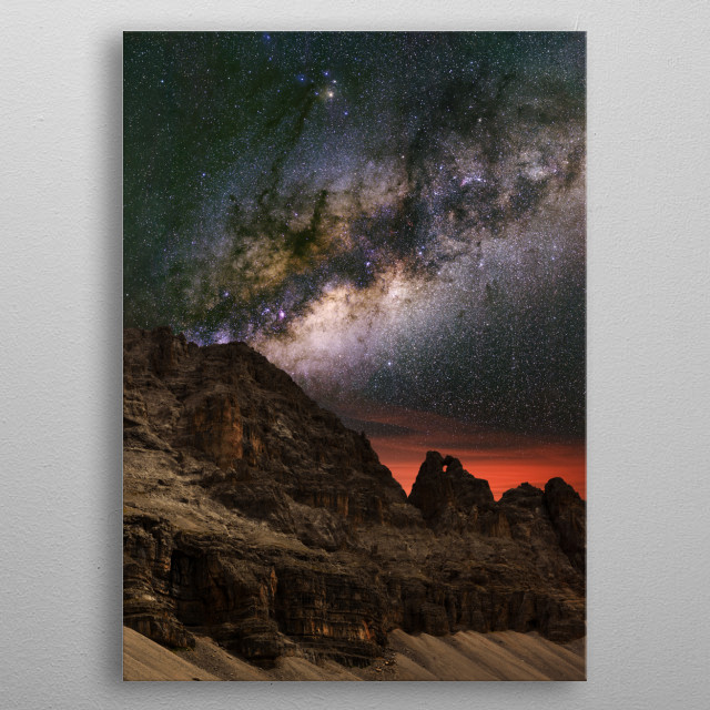 The Milky Way over the mountains in Madonna di Campiglio, Italy. metal poster