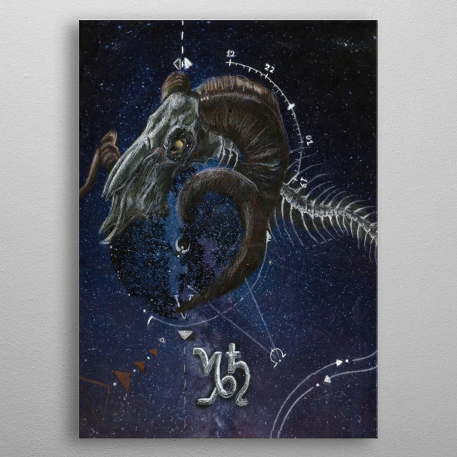Capricorn, represented through a goat's skull attached to a fish skeleton, part of the Dark Horoscopes series. metal poster
