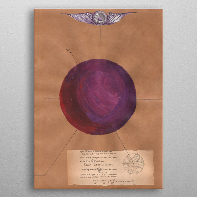 A mathematical collage combine with astrology.  Planet of the bull. metal poster