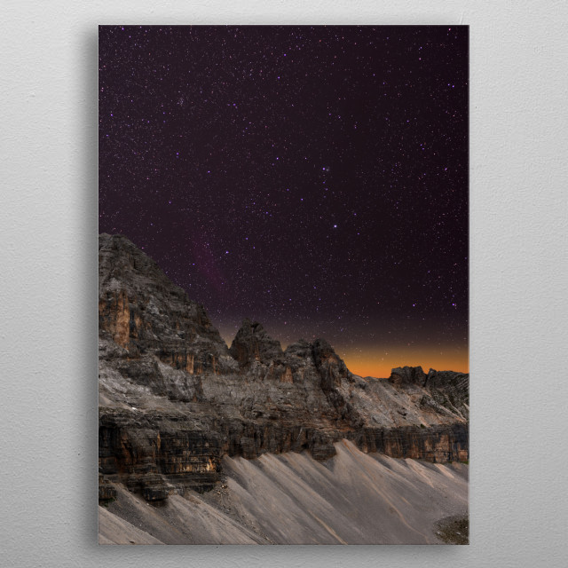 The Milky Way over the Dolomites in Madonna di Campiglio, Italy. metal poster