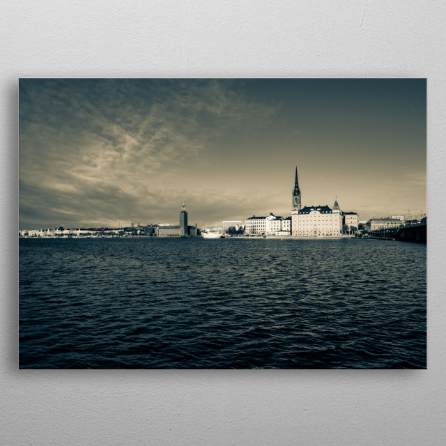 Beautiful shot I took of Stockholm town hall. Turned out much better than expected! metal poster