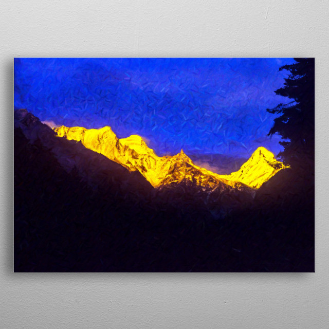 Digital Painting: Sudarshan Peak (6507 Mts.) is situated above the Gangotri Temple in the Garhwal  Himalayas in Uttarakhand, India. metal poster