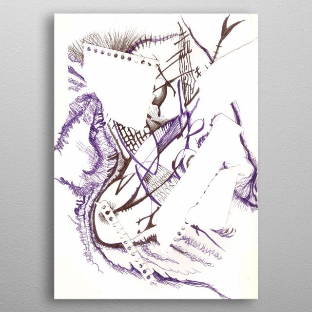 Obra, que nos habla sobre los cambios en la naturaleza y en el caracter de los humanos. construcciòn y destrucciòn. paz y guerra. metal poster