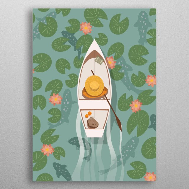 Illustration of a boat silently moving through a lily covered pond in a light spring breeze. metal poster
