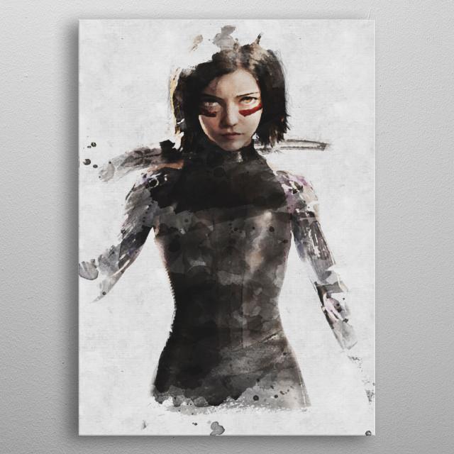 alita watercolor metal poster
