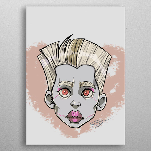 An illustration of Frankie Stein, a character inspired by Frankenstein, with signature. metal poster