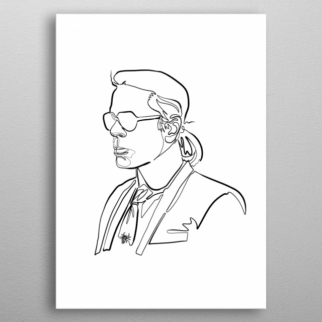 sketch of karl lagerfeld like person's head, minimalist continuous line drawing metal poster