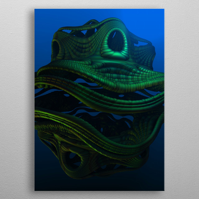 A fantasy and mythical sea creature, created with a fractal program called Mandelbulb 3D. metal poster