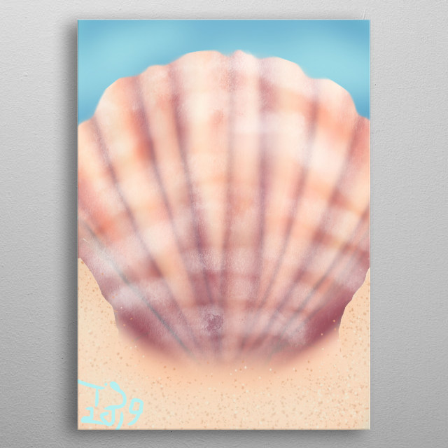 a pink sheshell metal poster