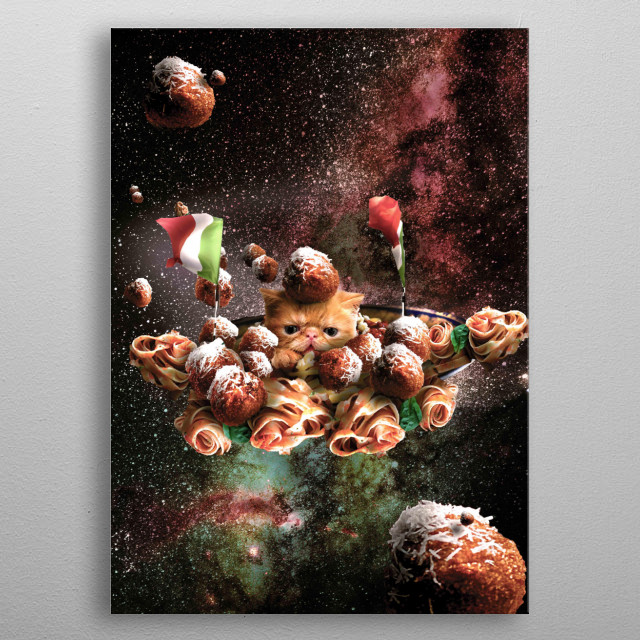 Pick up this funny design featuring a galaxy cat riding spaghetti pasta through outer space.  metal poster