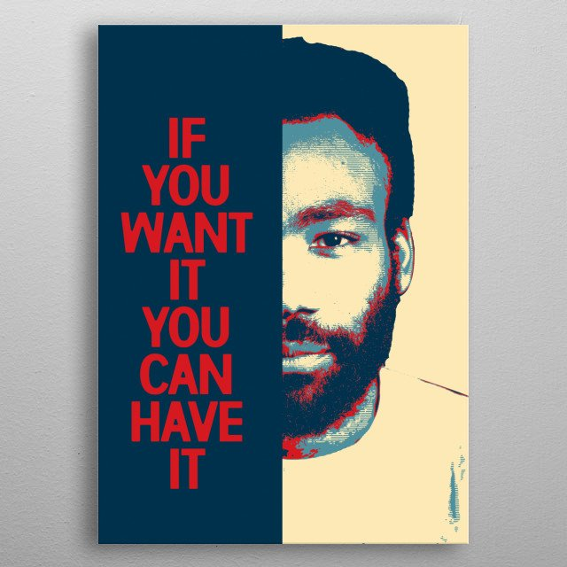 PORTRAIT OF THE RAPPER CHILDSH GAMBINO IN POP ART AND A PHRASE metal poster