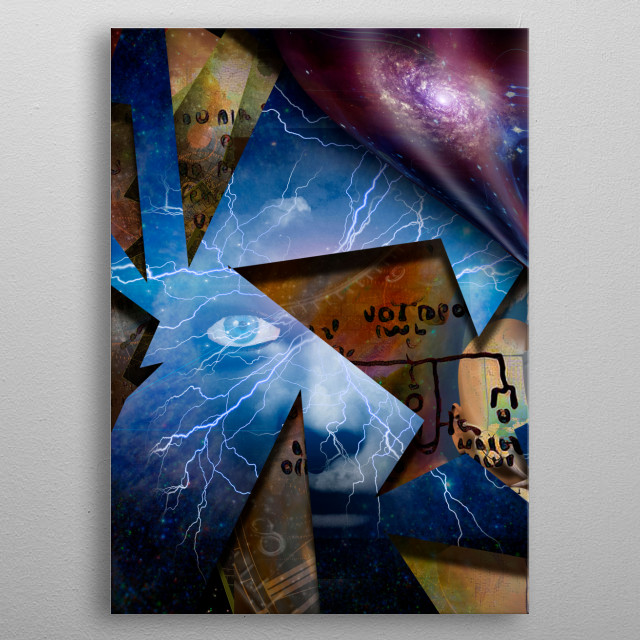 Surreal symbolic composition. Shards of reality metal poster