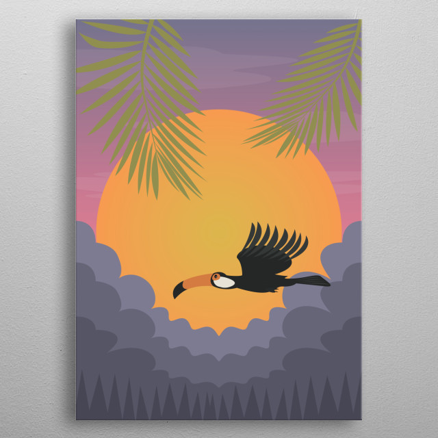 Illustration of a bird flying in a tropical sunset. metal poster