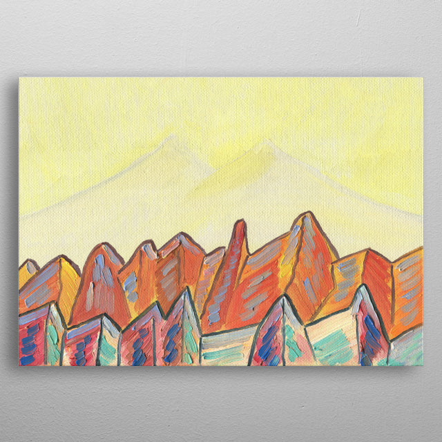 I've climbed a lot of mountains. Every time it's a new great experience and new sensations. I save it in my paintings. Oil/hardboard metal poster