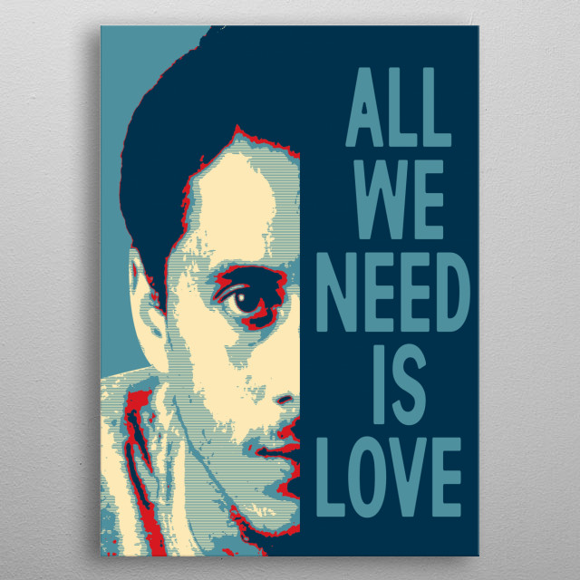 PORTRAIT OF THE RAPIER CANSERBERO IN POP ART AND A PHRASE metal poster