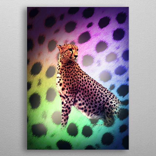 Pick up this cute rainbow cheetah design. This makes a perfect gift so pick one up today.  metal poster