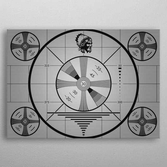 Technical difficulties circular calibration television screen with native american head & scan lines metal poster