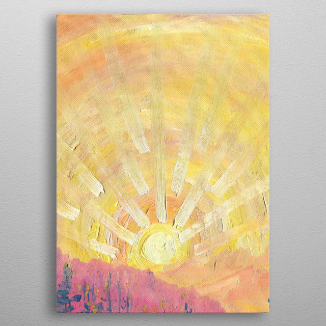 The artwork inspired by the beauty of sunrises and sunsets. Oil painting on canvas, painted from life in Caucasian mountains. metal poster