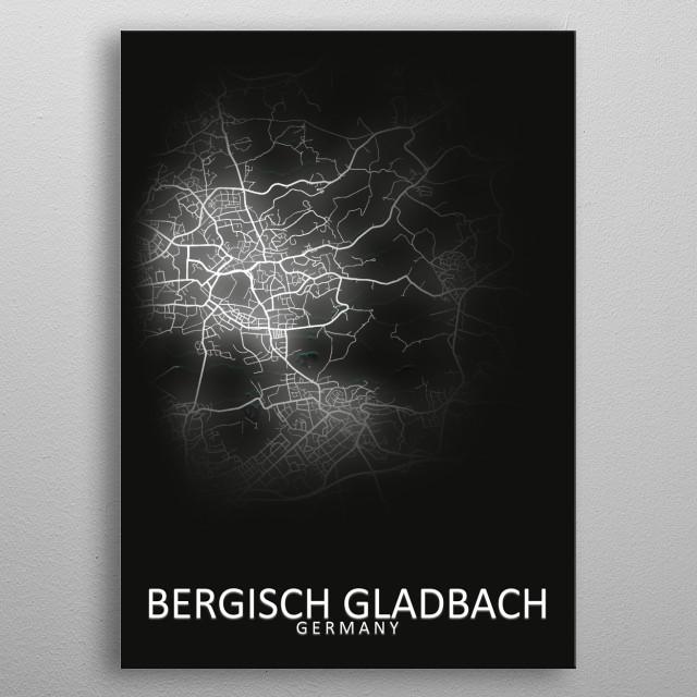 Bergisch Gladbach City Map metal poster