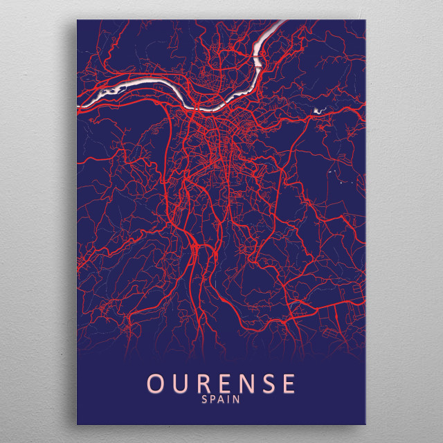 Ourense Spain City Map metal poster