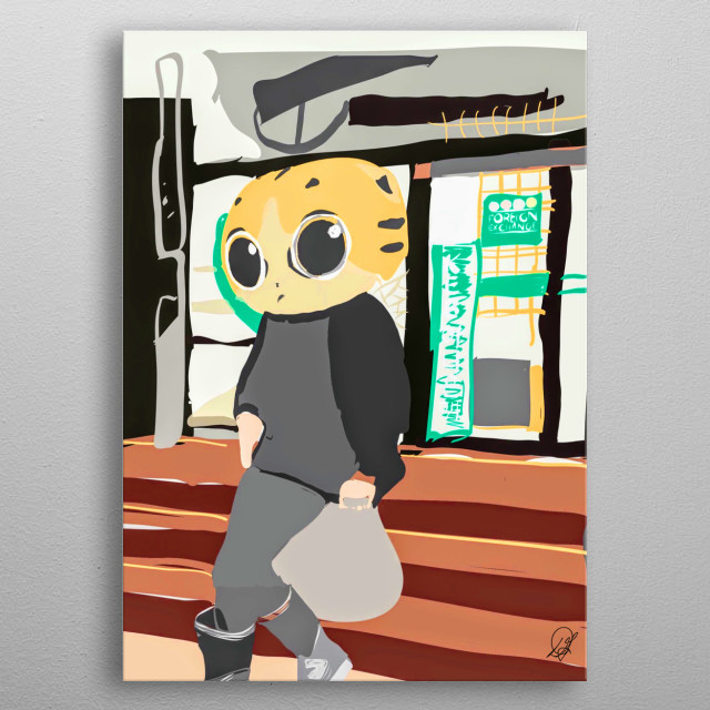 Comic style illustration of anthropomorphic cat shopping - by Deana Greenfield metal poster