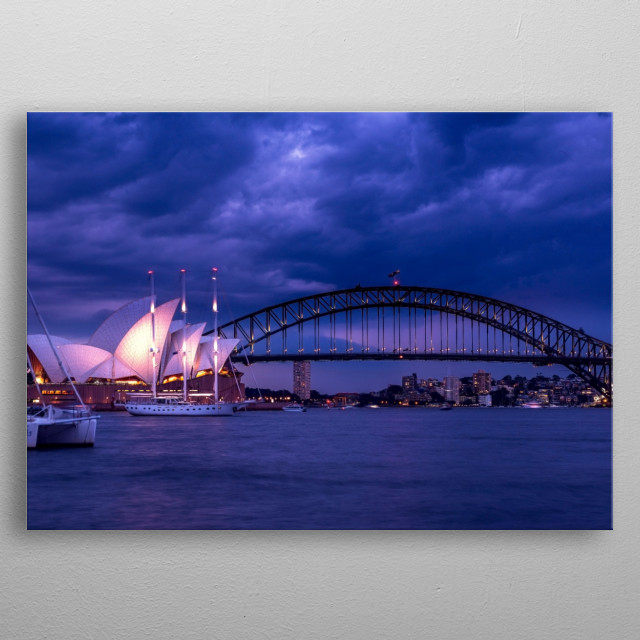 Sydney Opera house and harbour bridge  metal poster