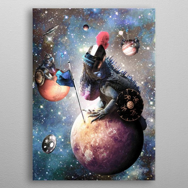 Pick up this funny epic space lizard design featuring galaxy lizards conquering the universe. metal poster