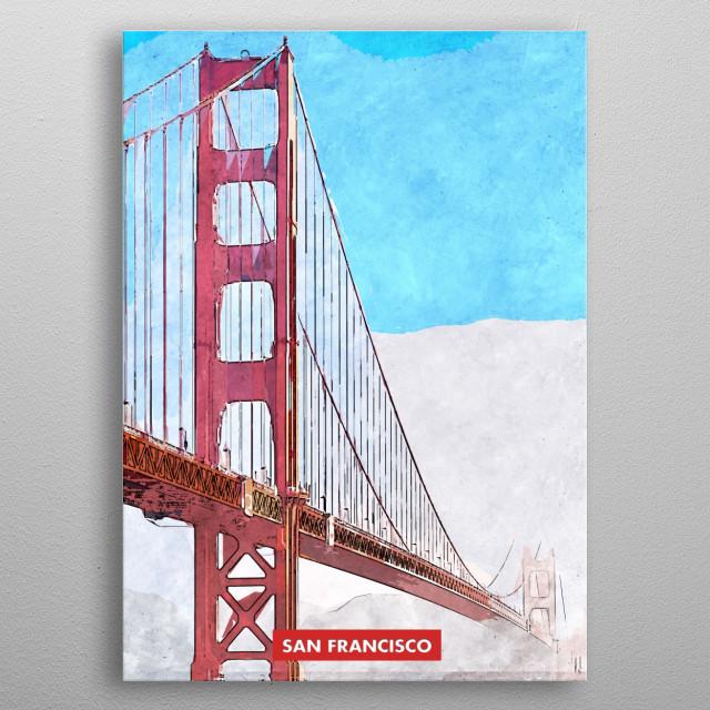 San Francisco City Skyline Golden Gate Bridge metal poster