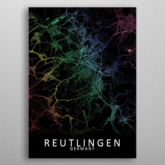 Reutlingen Germany Map metal poster