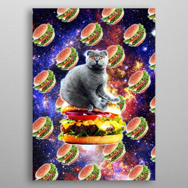 Pick up this funny burger space cat design featuring a galaxy astro cat riding on a hamburger in the universe. metal poster