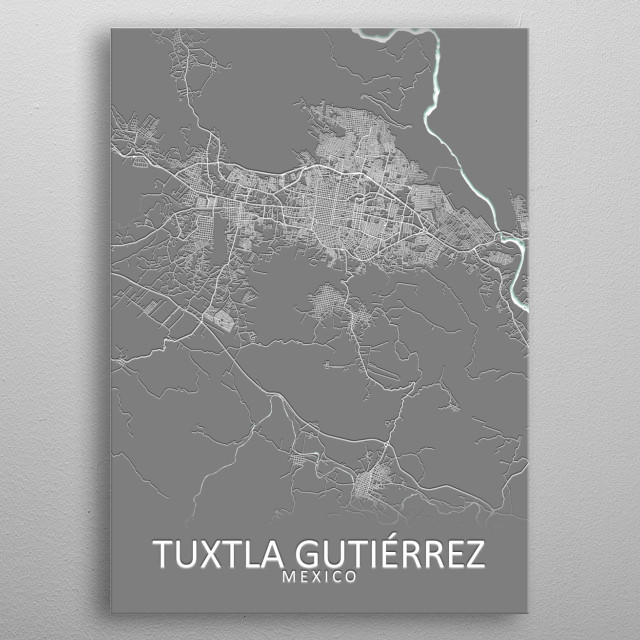 Tuxtla Gutierrez City Map metal poster
