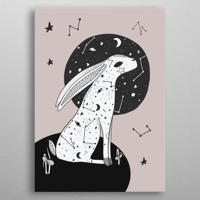 Moon Gazing Hare on a blush pink background.  metal poster