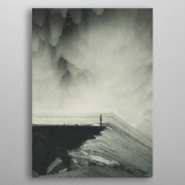 Surreal scene with an inclined seascape bending down sideways and a man looking into the distance metal poster