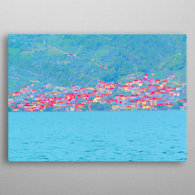 abstract landscape lakea scenic metal poster