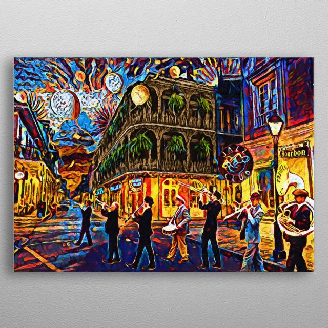 WHEN THE SAINTS GO MARCHING IN!! I created this artwork in the feeling and vibe of New Orleans.  metal poster
