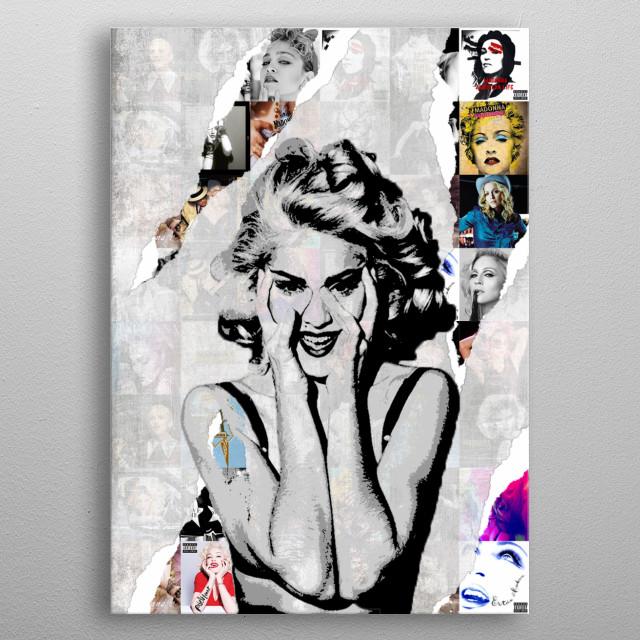 Illustration of Madonna metal poster