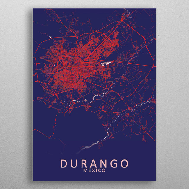 Durango Mexico City Map metal poster