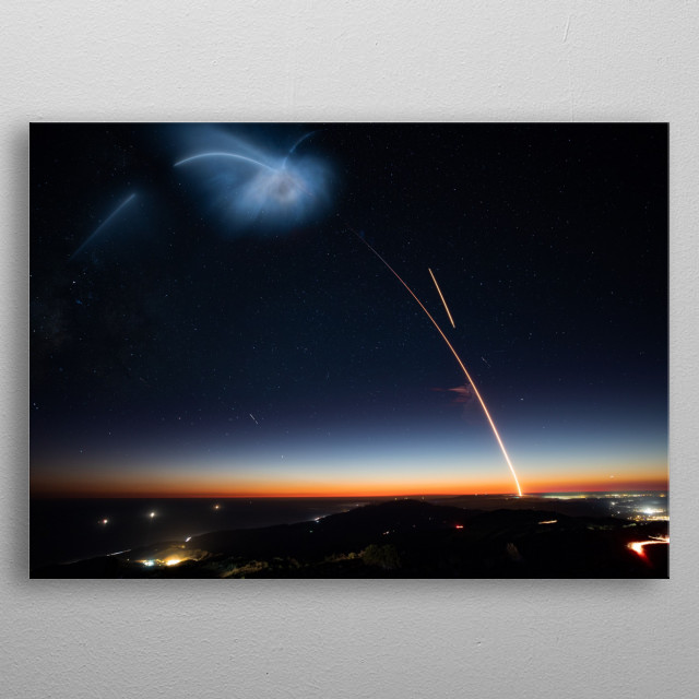 Elon Musk and SpaceX launches Falcon 9 and Heavy and soon The BFR or Starship. Don't Panic and go to Mars. CC0 1.0 Image. metal poster