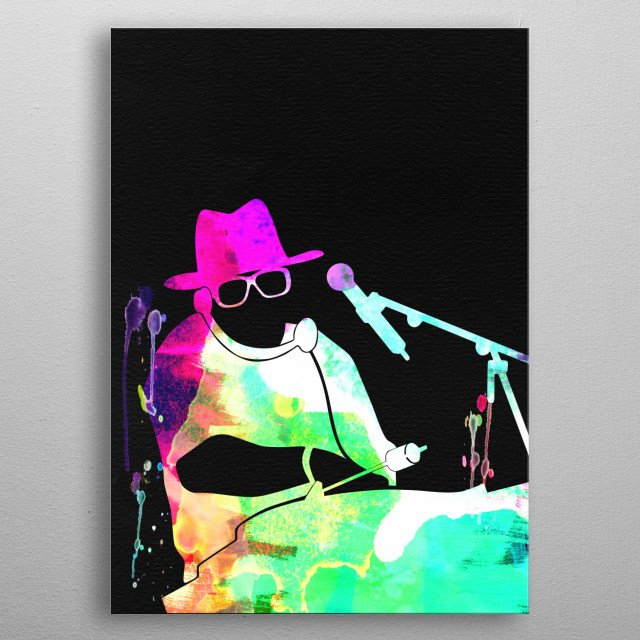Watercolor painting of legendary music icon Run Dmc. Please explore our Music Legend collection of displates. metal poster
