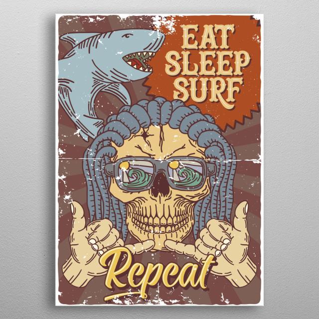 Surfing metal poster