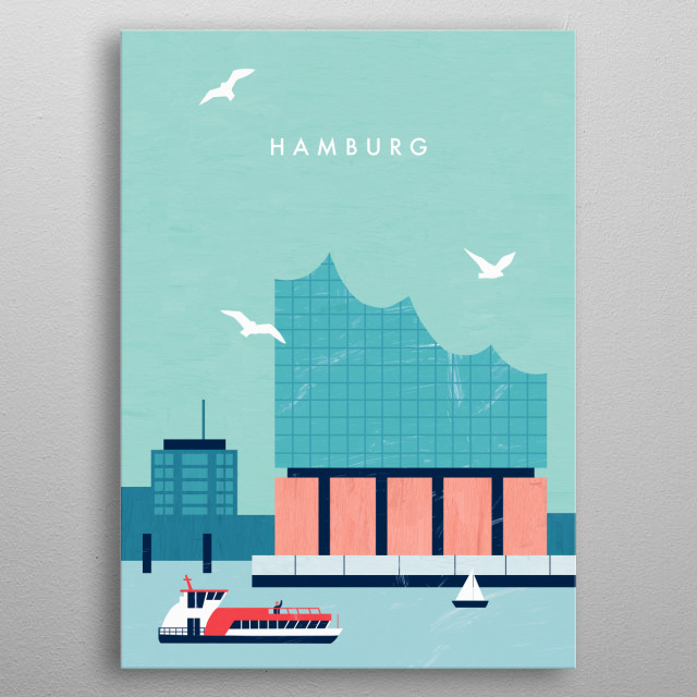 Illustration of Hamburg metal poster
