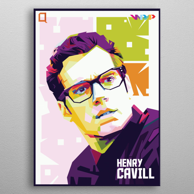 illustration of facial portraits that intersect geometrically with the use of special color contradictions. metal poster