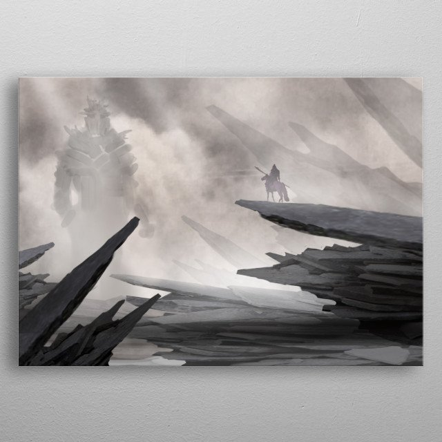 Inspired by ancient legends of heroes fighting gods, i did this matte painting of an epic encounter between a fearless hero and a strong god metal poster