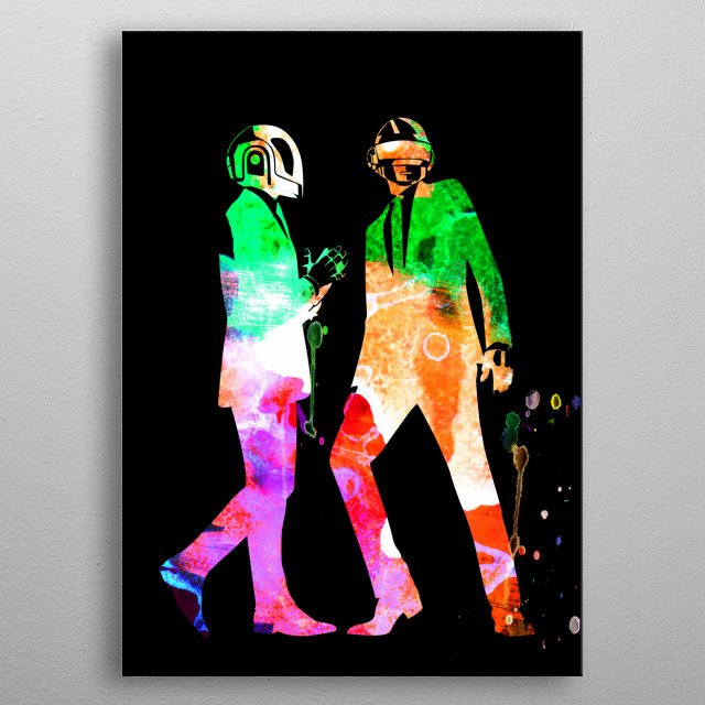 Watercolor painting of legendary music icon Daft Punk. Please explore our Music Legend collection of displates. metal poster