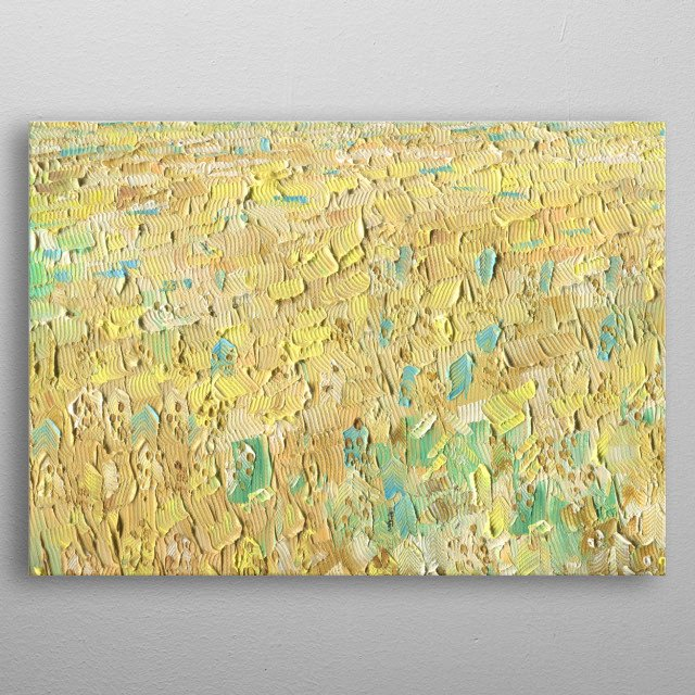 Oat field on a sunny summer day. Oil painting on canvas. metal poster